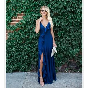 Cool Waters Maxi Dress Small Navy